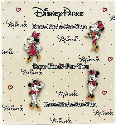 """Disney Parks """"Minnie Mouse"""" Fierce Fashion Glamour 4-Pin Booster Pack Set (NEW)"""