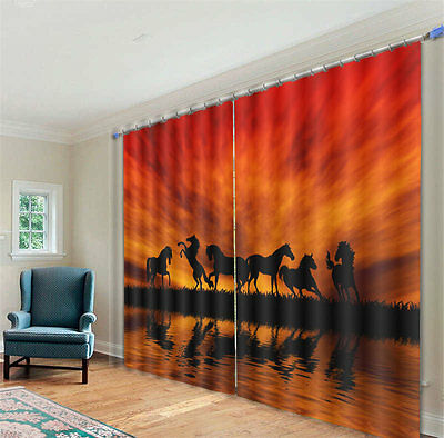 Horses Background 3D Blockout Photo Mural Printing Curtains Draps Fabric Window