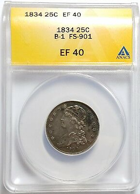 1834 25C Browning 1 Capped Bust Quarter ANACS EF40 FS-901
