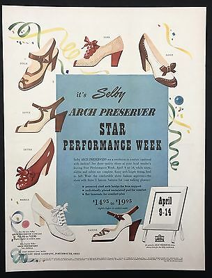 1951 Vintage Print Ad 1950s SELBY Woman's Foot Fashion Shoes Style
