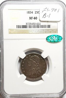 1834 25C O/F in OF Capped Bust Quarter NGC XF40 CAC
