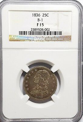 1836 25C Browning 1 Capped Bust Quarter NGC F15