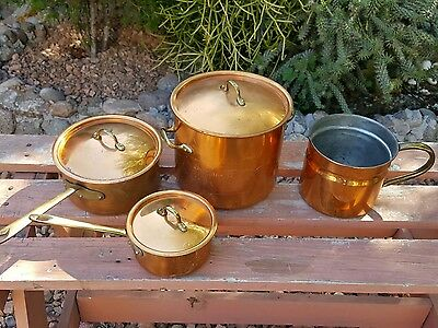 Vintage 4pcs copper copral pot made in Portugal