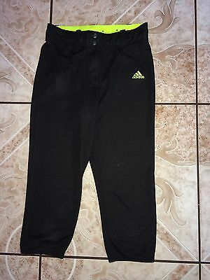 Kid's Unisex Adidas Climalite Pants Size L Large Black Yellow Fitness Polyester