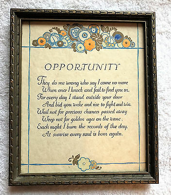 "Antique Art Deco Pochoir framed Motto Print - ""Opportunity"" by Walter Malone"