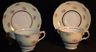Colclough Green and Yellow Floral Cups and Saucers -2