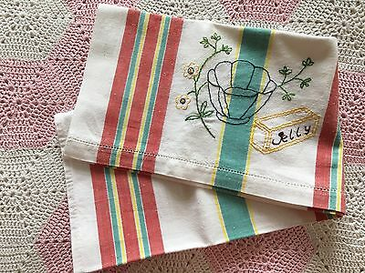 Vintage EMBROIDERED TEA TOWEL - Multi Colour Stripes