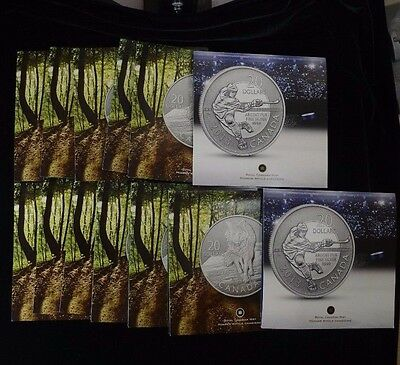 Lot of 13 2013 Canada $20 Silver Coin Cards Hockey & Wolf
