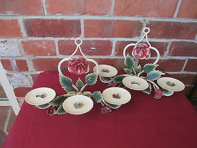 Vintage Pair Shabby Chic  Metal Roses & Leaves  Candle Wall Scones