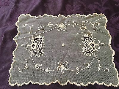 Vintage French Net Lace Tambour Scarf With Floral Embroidery