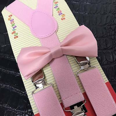 Blush Wedding Pink Suspender and Bow Tie Set for Baby Toddler Kids Boys Girls
