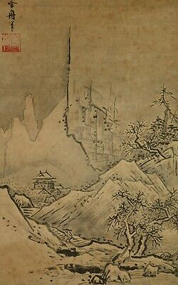 Japanese Painting Landscape Picture Hanging Scroll 雪舟 Print Asian art Japan a033