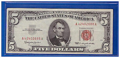 1963 $5 Dollar Bill Old Us Note Legal Tender Paper Money Currency Red Seal N469