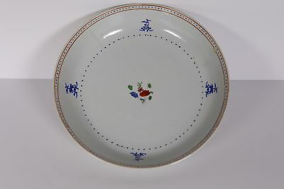 Chinese Porcelain export bowl plate - 18th century antique blue Qing - flowers