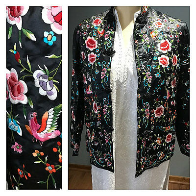 Vtg Chinese Hand Embroidered Floral Bird Silk Womens Blouse Jacket