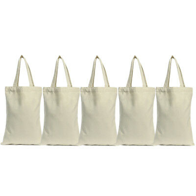 Lot of 5 Cotton Canvas Grocery Shopping Shoulder Bag Tote Eco Friendly Reusable