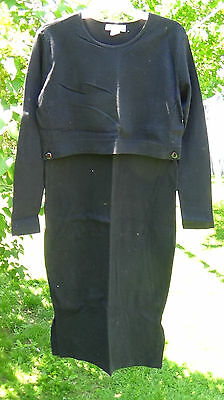 Motherwear nursing breastfeeding dress black long sleeve size S cotton USA made