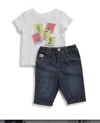 Guess Kids Boys 2 Piece Set Tee And Jeans Size 0/3 Months NEW !!!