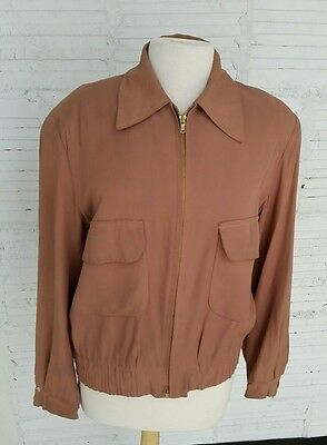 RARE Mens 1940s Rayon Gabardine Jacket/Flap Pockets/Large