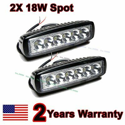 "2X 6"" inch 18W Spot LED Work  Fog Light Bar Truck Boat Driving Offroad SUV 4WD"