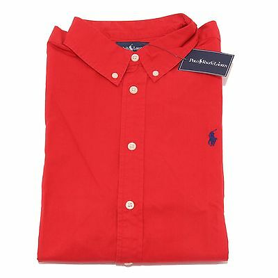 7247S camicia rossa bimbo RALPH LAUREN botton down manica lunga shirt kid