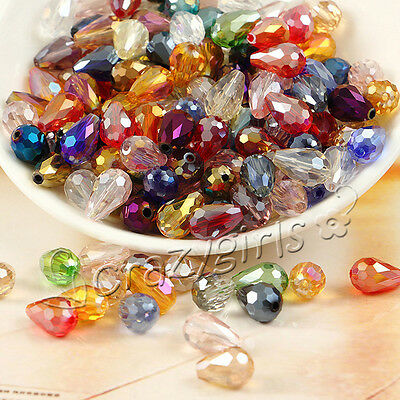 20/100pcs 12X8mm Teardrop Faceted Crystal Glass Loose Spacer Beads DIY Making S