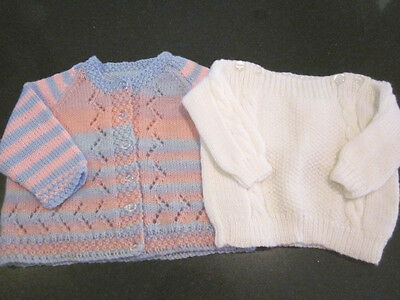 Hand Knitted Baby Cardi  & Jumper Size 00  New Without Tags