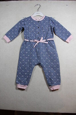 Baby Girl Size 000,00,0,1 Fox & Finch Winter Blue Denim Romper With Print NWT