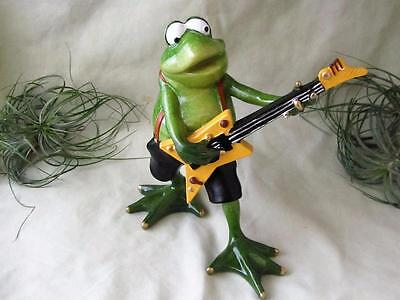GREEN FROG ROCK AND ROLL ELECTRIC GUITAR SUSPENDERS RESIN Sculpture FREE SHIP