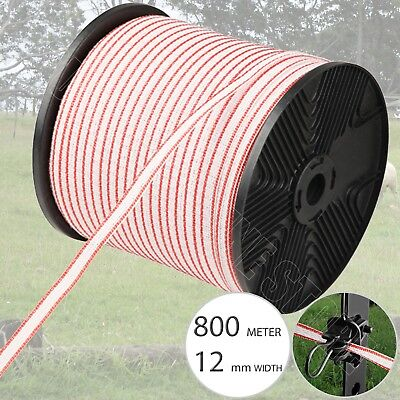 800M Roll Polytape Electric Fence Poly Tape Energiser Stainless Steel Insulator