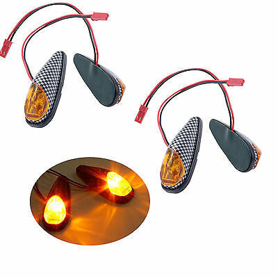 4x Amber LED Flush Mounted Motorbike Turn Signals Indicator Light Blinker Carbon