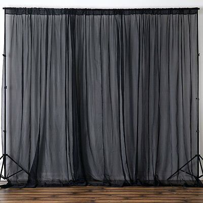 Black 10x10' Sheer Voile Professional BACKDROP Curtain Photobooth Wedding Party