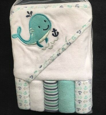 Baby Hooded Towel & 5 Washcloths Gift Set Boys Blue Shower Whale Nautical (L24)