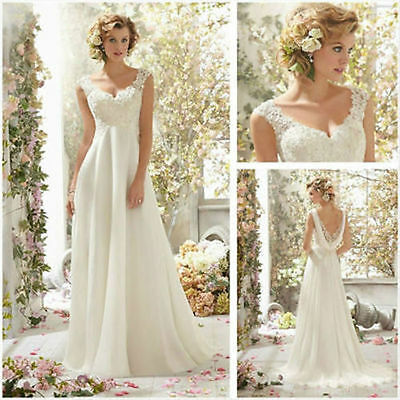 New White/Ivory Wedding Dress Bridal Gown stock Size:6 8 10 12 14 16