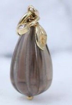 Pandora 14ct Gold Smoky Quartz Diamond Pear Pendant Rare Retired