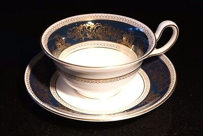 Beautiful Wedgwood Columbia Blue And Gold Peony Shape Cup And Saucer