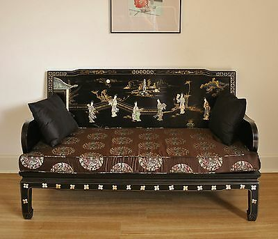 Vintage Chinese Lacquer Settee Sofa Couch w Soapstone & Mother of Pearl Inlay #1