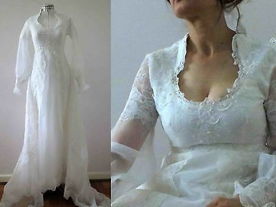 Vintage 70s  White Scoop Neck Lace Wedding Dress with Train Small