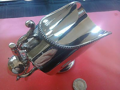 """Lovely vintage silver plate """"coal scuttle"""" sugar bowl"""