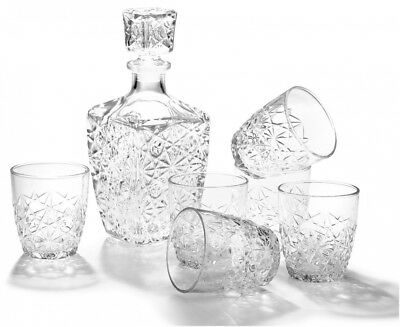 Bormioli Rocco Dedalo 7-Piece Whiskey Decanter Set, Set of 6 Rocks Glasses and