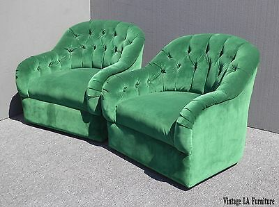 Vintage Pair of Mid Century Modern Tufted Green Velvet Swivel Club CHAIRS