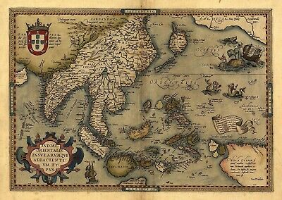 Reproduction Antique Map of Asia, Japan, (India, South East Asia, Indonesia,