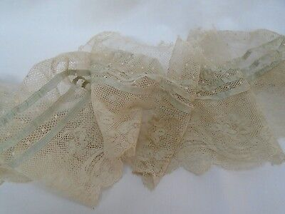 vintage antique primitive old lace net blue ribbon fabric edging sewing trim