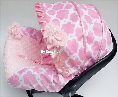 Infant Carseat Canopy Cover 3 Pc Whole Caboodle Baby Car Seat Cover Kit Cotton C