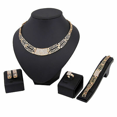 4pcs/set Schmuck Set-Kette-Ohrringe Elements Gold Halskette Ring schmuck sets