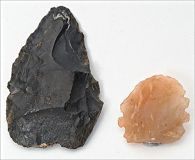 Two Central Queensland Australian Aboriginal Stone Implements or Spear points