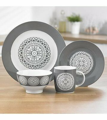 32 Piece Porcelain Dinner Set in a Moroccan Design in a Grey Pattern