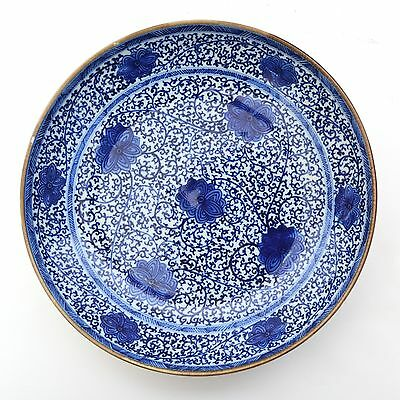 Beautiful Chinese Porcelain Blue and White Plate with Tendril Pattern Kangxi