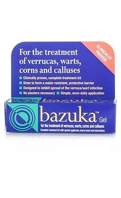 Bazuka gel for verrucas warts corns and calluses 1 x 5g expiry 04/2020