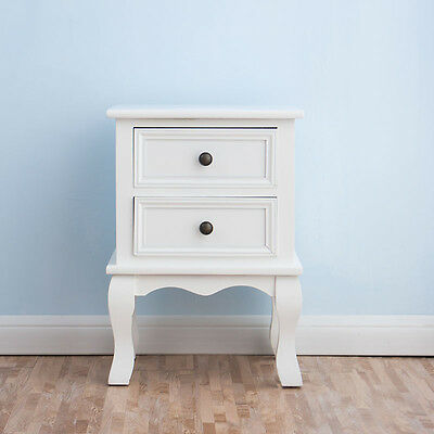 CTF Wood White Bedside Table 2-Drawers Cabinet Nightstand